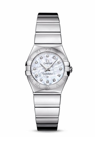 Omega Womens Silver and Diamond Dial Watch